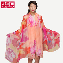 200*145cm Bohemian Chiffon SIlk Summer Pareo Scarf Women Beach Cover Up Floral Print Shawl Scarves Wrap feminino Voile Sunscreen(China)
