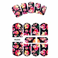 NAIL ART NAIL WATER STICKER DECAL FULL COVER SUNFLOWER CHINA ROSE PINK GOLD BELL TROPICAL BANANA LEAF RU343-348(China)