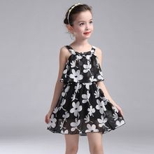 Kids Dresses For Girls Children Clothing 2017 New Year Chiffon Party Dress Girls Floral Summer Sundress 2 3 4 6 8 10 11 12 Years(China)