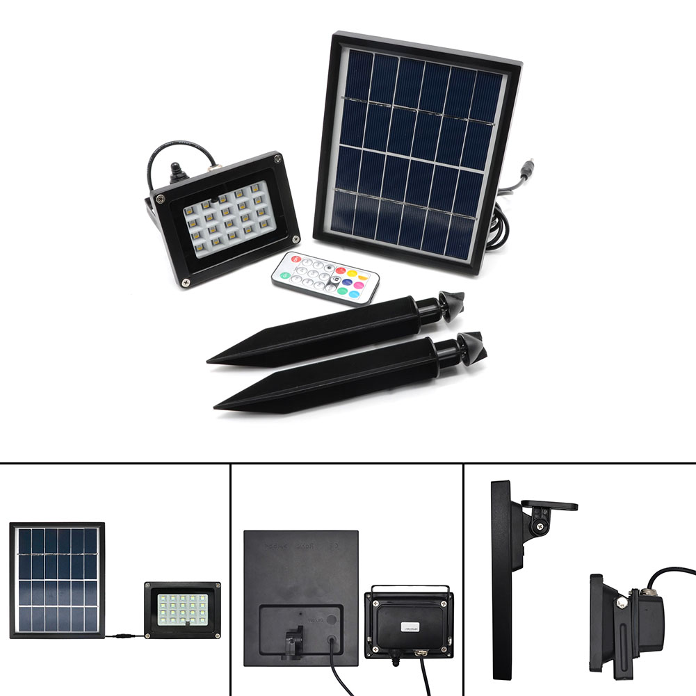New Arrival 20*RGB 5050LED Solar Light With Solar Panel Built-in Lithium Battery With Remote Control  Solar Light LED Lamp<br>
