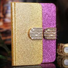 Luxury Stand Wallet Bling PU Leather Case for SONY Xperia Z L36H L36i C6603 C6602 Flip cell phone case back Cover with Card Slot(China)
