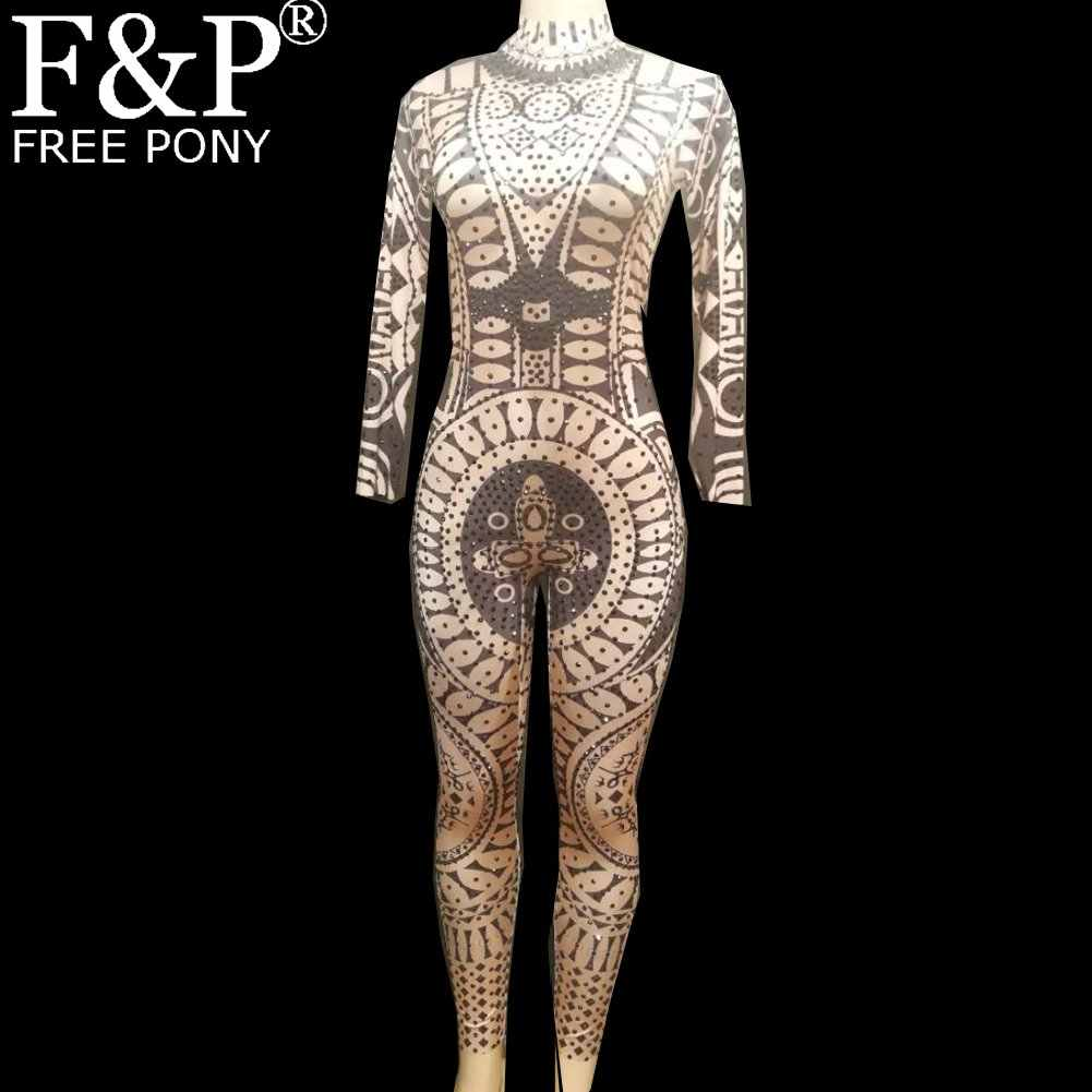 Drag Queen Costumes Tattoo Rhinestone Bodysuit Crystal Jumpsuit Carnival  Runway Performance Party Celebrity Clothing 763f30bf4713