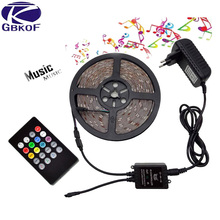 Decoration 5m RGB led strip 3528 SMD diode flexible strip tape LED light Set+24Keys/Music Remote Control+DC 12V 2A Power Adapter