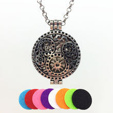 1PC Vintage Silver Hollow Machine Clocks Alloy Trendy Locket Essential Fragrance Oil Diffuser Pendant Necklace Jewelry With Pads