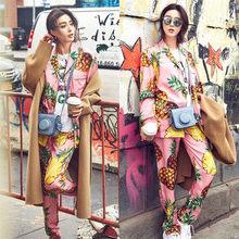JRMISSLI Sexy Pajama Set Women pineapple Print Two Pieces Set Brand Pyjama  Sleepwear Satin Silk Pijama 7af36d146