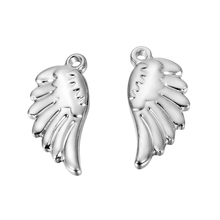 LASPERAL 5PCs Stainless Steel Charms Beads Pendants For Jewelry Making Feather Angel Wings Shape DIY Fashion Bracelet Necklace(China)