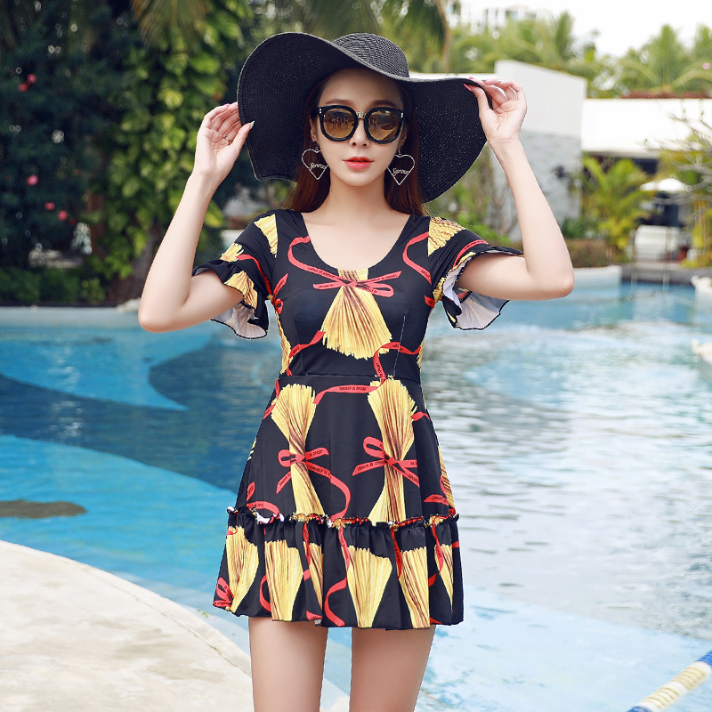 NIUMO NEW Swimsuit Woman One-piece Swimsuit Skirt Style Leak Back Small Chest Gather Together Large Size Hot Spring Swimwear<br>