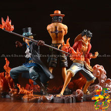 ZXS One Piece Figure Ace Luffy Sabo Collectible Action Figure Japanese Anime Figure PVC Cartoon Figurine One Piece Toys Juguetes