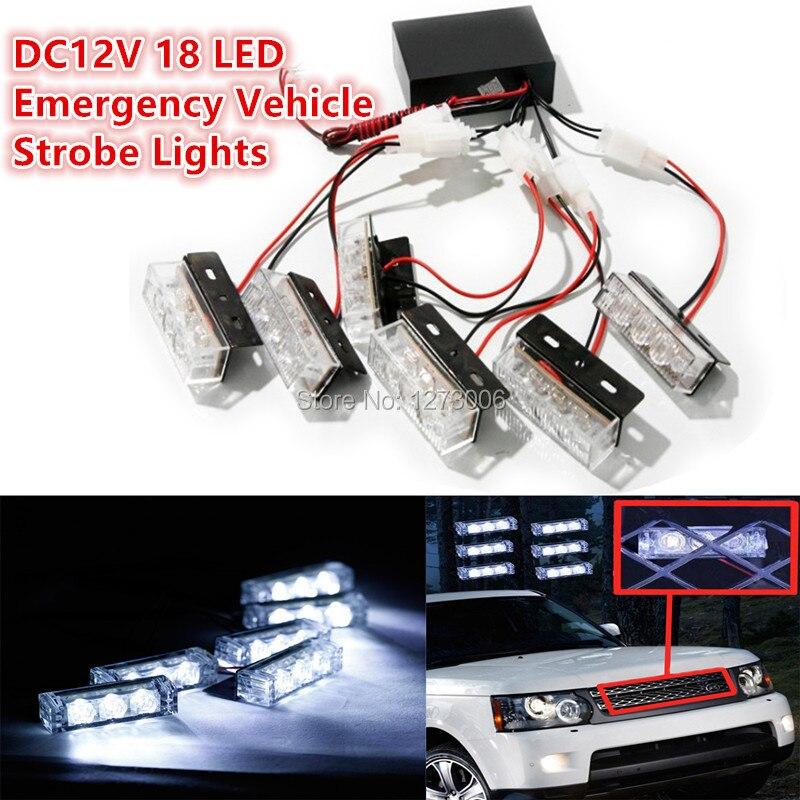 DC12V 18 LED White Emergency Vehicle Strobe Lights for Front Grille/Deck Head Lamp Car Fog Light Flash Warning Lights<br><br>Aliexpress