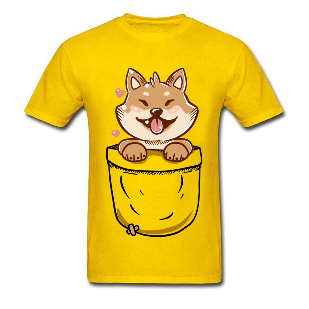 Group Discount Casual Tops T Shirt Crewneck Summer 100% Coon Short Sleeve T Shirt for Men Birthday Tee-Shirts Shiba Inu in your Pocket Tee yellow