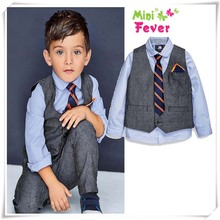2-7Y Boys Blazer Suits Kids Blouse+Vest+Pants+Tie 4 pieces Clothes Sets Children Outerwear Clothes for Wedding Party DA747(China)