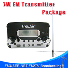 FMUSER FU-7C CZE-7C CZH-7C 7W FM Stereo PLL Radio FM transmitter GP200 1/2 Wave GP Antenna Power Supply Package(China)