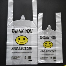 100x Supermarket custom biodegradable transparent pe ldpe hdpe packaging t-shirt shopping plastic bag smile thank you bag