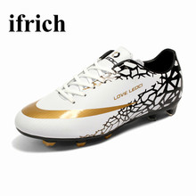 2017 Leather Mens Kids Soccer Shoes Outdoor Long Spike Football Boots Boys Football Cleats Cheap White/Orange Soccer Trainer Men
