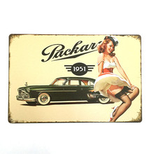 Vintage metal sign retro metal painting art poster plaque 20*30cm sexy Car Lady wall sticker home decor cafe bar wall decor