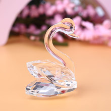 3D Crystal Swan Figurines Decor Crafts Wedding Ornaments Creative Gift(China)