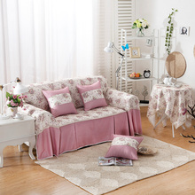 SunnyRain 1 piece Polyester Floral I Shaped Sofa Cover Sectional Sofa Covers Slipcover Couch Cover Chaise Longue Table Cloth