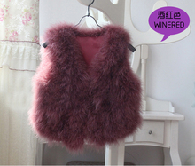 Real Ostrich Fur Vest Genuine Natural Fur Waistcoat Low Low Wholesale Free Shipping Women Vest with padding DFP269