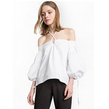 Women Blouse Top 2017 New Summer Sweet Off Shoulder Playful Puff Sleeve Cross Hanging Neck White Blouse Loose Shirt Big Size()