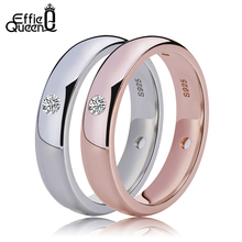 Effie Queen Silver Color Women Wedding Engagement Jewelry Ring New Fashion Lady Zircon Finger Rings DR61