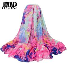 18 colors! 180*100 cm Fashion Women Cotton Voile Scarf  Gradient Color Flower Print Large Scarf Wrap Shawl Voile Beach Cover Ups