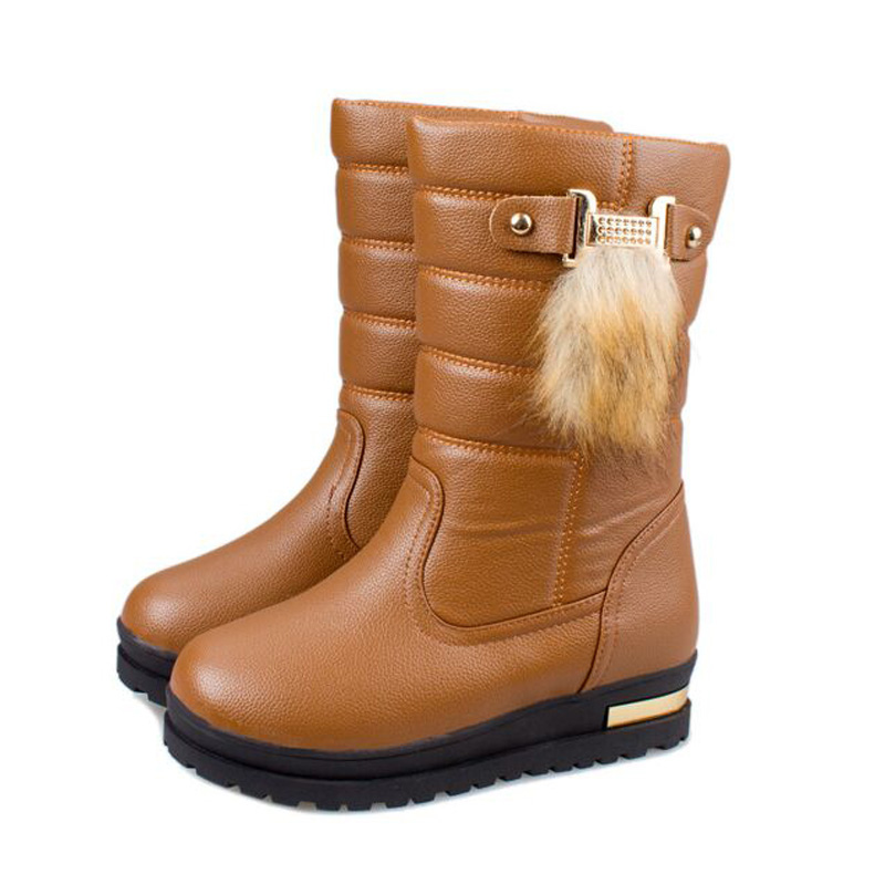 Winter boots 2017 Waterproof non slip new Keep warm bottom white thick warm wedges Snow boots round flat heel womens boots<br><br>Aliexpress