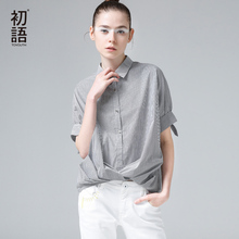 Buy Toyouth Women Summer Blouse Casual Turn-down Collar Stripe Printed Half Sleeve Shirt Fashion Female Stripe Loose Blouse Tops for $39.00 in AliExpress store