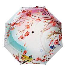 Good quality sun protection umbrellas women rain folding umbrella oil painting personality parasol steel wholesale(China)