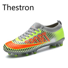 Thestron Football Cleats Cheap Professional Kids Women Soccer Shoes Large Size11 Traning Original Free Shipping Black Blue Red(China)