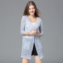 2017 Summer new arrival V Lead Conditioner Cardigan Girls Hollow Out Knitting Upper Garment s2720461 sun-resistant Cardigan(China)