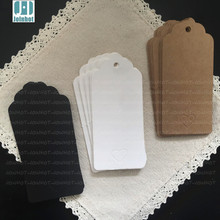 50pcs  9*4cm Brown Kraft heart  Paper Hang Tags Wedding Party Favor Punch Label Price Gift Cards with a small heart