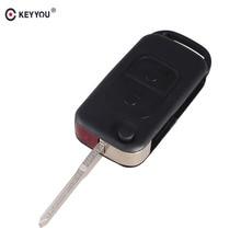 KEYYOU 2pcs Flip Folding car Shell Remote Key Fob Case 2 Button Mercedes Benz E113 C E S W168 W202 W203 Free Shipping