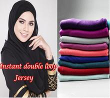 women soft jersey double loop plain shawls 21 color high elasticity muslim head wrap hijab headband scarves/scarf 20pcs/lot(China)