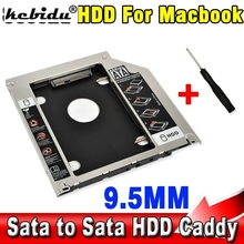 "kebidu 9.5mm Second HDD Caddy 2nd SATA 2.5"" Hard Disk Drive SSD Enclosure for Apple Macbook Pro A1278 A1286 A1297 CD Optical Bay"