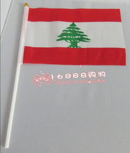 Flag of Lebanon Lebanon hand wave flags 14 * 21CM free shipping activities decorative quality polyester(China)