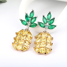 Buy Cute Fruit Pineapple Stud Earrings Bling Gold Pink Crystals Earrings female Ear brincos Chic Punk Women Jewelry Shellhard for $1.37 in AliExpress store