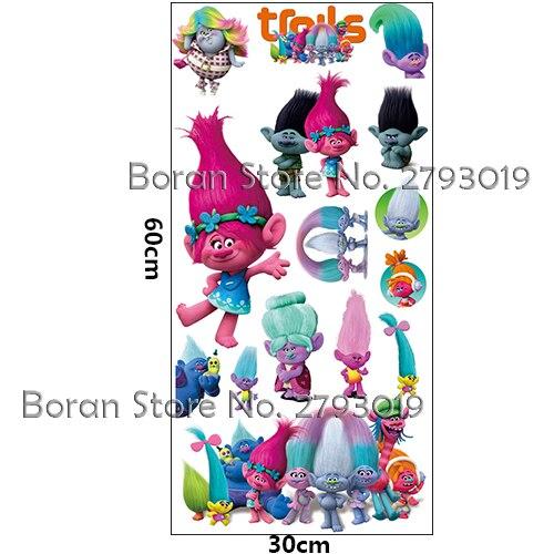 New Cartoon Trolls Stickers Vinyl Wall Decals Dreamwork New Movie Decals Stickers for Kids Room Trolls Stickers Home Decor