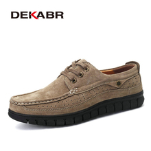 DEKABR Men Fashion Breathable Business Shoes Men 2017 Luxury Brand Quality Scrub Handmade Moccasins For Man Soft Leather Flats