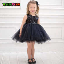 2017 Summer Baby Girls Party Dress Kid Sequins Black Yarn Lace Tutu Dress Children Performance Costume Clothes Ball Gown(China)