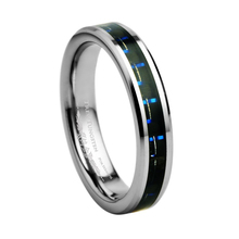 Tungsten Carbide Wedding Band with Black & Blue Carbon Fiber Inlay Width - 4mm /TURI0012L(China)