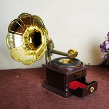 2017 Creative Crafts Retro Phonograph Music Box with Drawer Child Gift Classic Gold Trumpet Horn Retro Music Box
