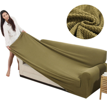 TUEDIO Knitted Cotton Sofa Cover Striped Slipcovers all-inclusive Couch Case for different Shape Sofa High Quality Solid Color