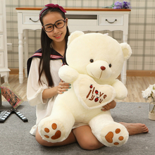 1pc big size 70cm Stuffed Plush Toys Holding I Love You Heart Big Plush Teddy Bear Soft Gift for Valentine Day Birthday Girls