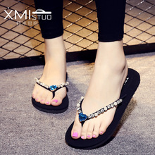 XMISTUO Brand 2017 Casual Cheap Women Shower Home Beach Rhinestones Jelly Slippers Soft Outsole Shoes Girl Sandals Flip Flops(China)