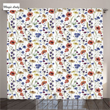 Curtains Kitchen Windows Decor Collection Wildflowers Poppy Chamomile Cornflowers Daisies Red Navy Blue 2 Panels Set 145*265 sm