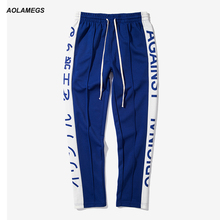 Aolamegs Men Casual Japanese Letter Printing Side Stripe Track Pants Contrast Color