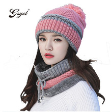 [Gsycl] Winter Hat girl Add Thick Warm Cashmere Scarf Protective Ear Cap Knitted Woolen Hat 5 Colors Black Red Pink Blue(China)