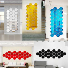 Modern 10pcs 3D Mirror Geometric Hexagon Acrylic Wall Sticker Decor Art DIY(China)