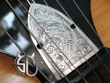Free shipping hand engraving retro roll grass pattern stainless steel truss rod cover for guitars patterns can be customized
