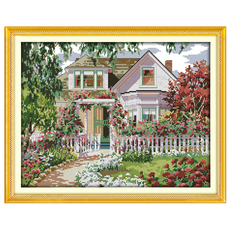 Дом с садом схема вышивки